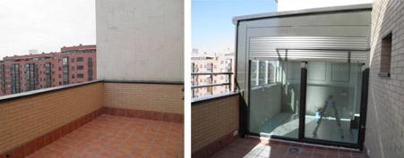 Antes y después del cerramiento de terraza