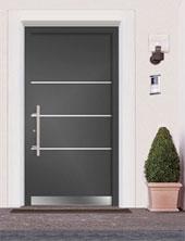 MODELO FIN-PROJECT. Y22 PVP: 3520,97 € Cuota mensual: 116,19 € Puerta de Aluminio de alta calidad. Puertas muy resistentes al mal tiempo. Necesitan muy poco mantenimiento. Aportan además un máximo aislamiento térmico y acústico. Modelo con un equipamiento de seguridad de serie que se puede ampliar con vidrios y herrajes de seguridad adicionales. Variedad de colores y de superficies por dentro y por fuera, gracias a ello se pueden adaptar a cualquier estilo de fachada y a la decoración del interior del hogar. Puertas de larga durabilidad.